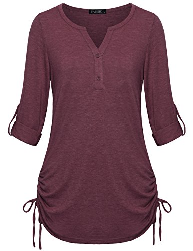 FANSIC Plus Size Clothing for Women, Notch Neck Long Sleeve Comfy Casual Wear Button Down Henley Womens Tee XX-Large Matenga