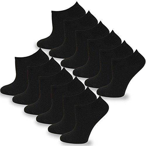 (TeeHee Women's Fashion No Show/Low cut Fun Socks 12 Pairs Packs (Black))