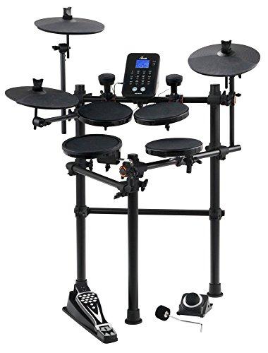 XDrum DD-450 E-Drum-Set (Komplett Set, 4 Drum Pads, 3 Cymbals, 2 AFI-Trigger Pads, HiHat Pedal, Kick Pad, Crash- und Ride-Becken abstoppbar, Aufnahmefunktion, LCD, USB-MIDI, AUX, Kopfhöreranschluss) schwarz