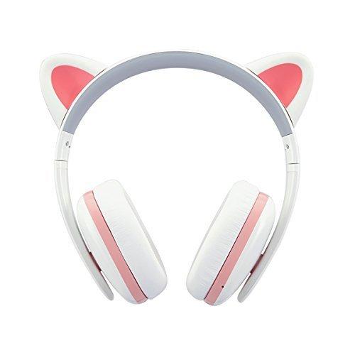 BC Master CTMOE1-P Censi Wired Katze Ohr Kopfhörer - Over Ear Wired Noise Cancelling Kopfhörer für Smartphone, PC (weiß)