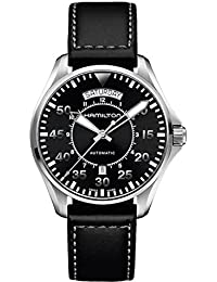 Men's 'Khaki Aviation' Swiss Automatic Stainless Steel and Black Leather Casual Watch (Model: H64615735)