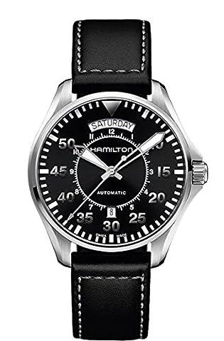 Hamilton Men's 'Khaki Aviation' Swiss Automatic Stainless Steel and Black Leather Casual Watch (Model: H64615735) - Hamilton Da Polso Al Quarzo