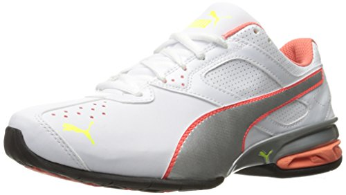 PUMA Women's TAZON 6 WN'S FM Cross-Trainer Shoe White/Fluorescent Peacock, 11 M US