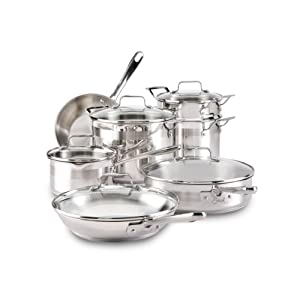 T-fal E884SC Restaurant Stainless Steel Cookware Set, 12-Piece, Silver