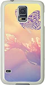Fairy Butterfly On Flower Galaxy S5 Case, Galaxy S5 Cases - Compatible With Samsung Galaxy S5 SV i9600 - Samsung Galaxy S5 Case Durable Protective Case for White Cover