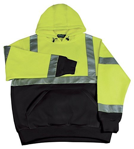 ERB Safety 61548 W377 Class 2 Hooded Pullover Sweatshirt, Medium, Hi-Viz Lime by ERB