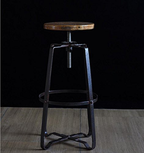 Home Wooden High Stool / Chair / Irons Upgraded Bar Stool ( Color : Black ) by Xin-stool