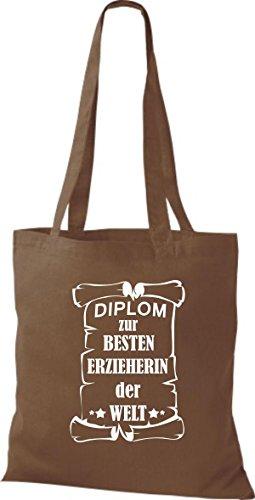 Shirtstown Sacchetto in stoffa Diploma per migliore Erzieherin mondo - Marrone Chiaro, 38 cm x 42 cm