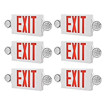 Image of Home Improvements AKT LIGHTING LED Emergency Light & Exit Sign Combo, Red Exit Sign, UL Certified Emergency Exit Light, Adjustable Lamps with Back-up Battery (Red, 6 Pack)