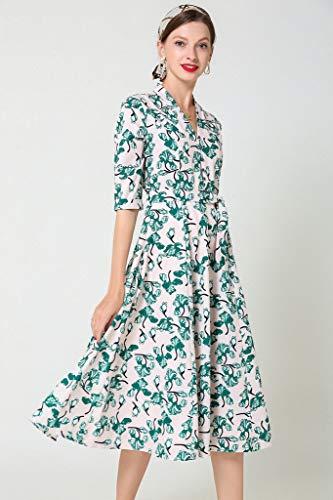 24e3920cdbeb Ababalaya Women's Chiffon Faux Wrap Short Sleeve Boho Print Midi Flared  Casual Beach Dress