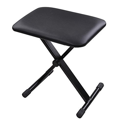 AW Adjustable Height Folding Keyboard Bench X-Style Padded Seat Chair Stool Portable Black