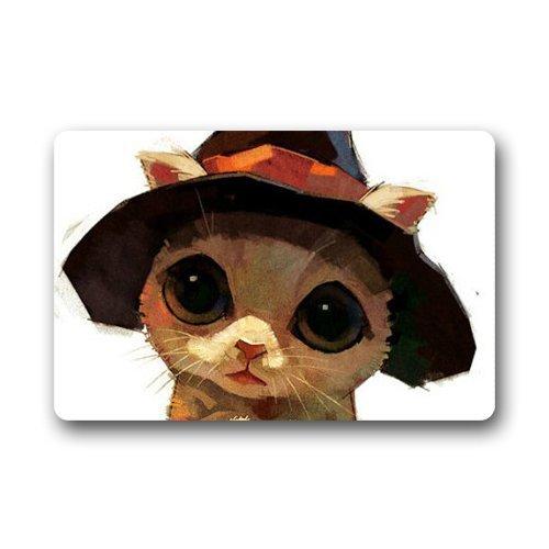 FunnyLife Cute Lovely Sweet Cartoon Art Deco Painting Halloween Cat Kitty Hand Draw Unique Non-slip mats doormat -