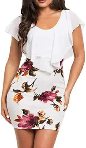 5cd20366 FEDULK Womens Ruffled Dress Sleeveless O Neck Floral Print Bodycon Evening  Party Elegant Midi Dress