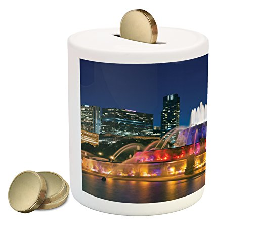 Ambesonne Chicago Skyline Piggy Bank, Buckingham Fountain Landmark in The Center of Grant Park Vibrant Night, Printed Ceramic Coin Bank Money Box for Cash Saving, Multicolor (Best Restaurants In Buckingham)