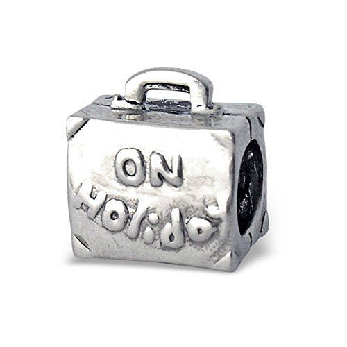 Gift Bag Charm On Bead Suitcase With Bag 925 Luggage Silver Holiday Sterling Travel 7xPH7afwq