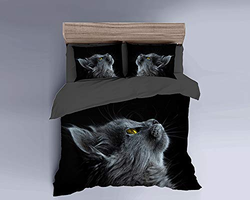 MILDLY Duvet Cover Sets Brushed Mircrofiber Fabric Duvet Cover Full Size Zipper Closure with One Pillow Case Black Cat Animal Pattern Digital Printed