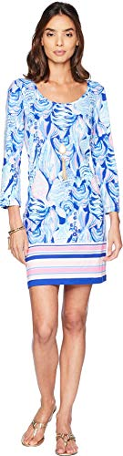 (Lilly Pulitzer Women's Beacon, Twilight Blue Scale up Engineered Dress,)