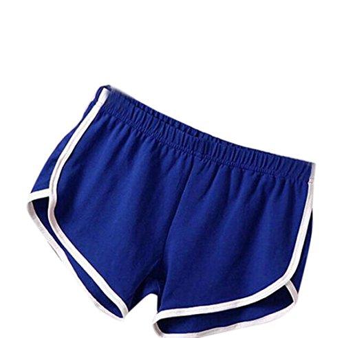 FEITONG Summer Pants Women Sports Shorts Gym Workout Waistband Skinny Yoga Short(X-Large,Blue)