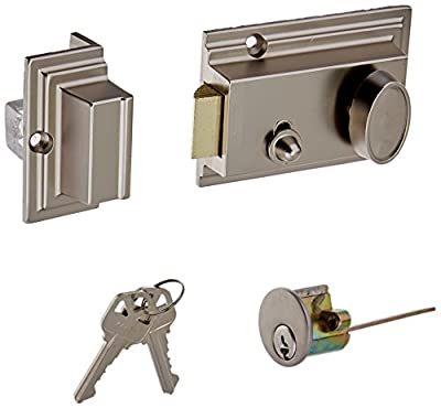 Defiant 1-3/8 in. x 2-3/8 in. Single Cylinder Satin Nickel Deadlatch Lock