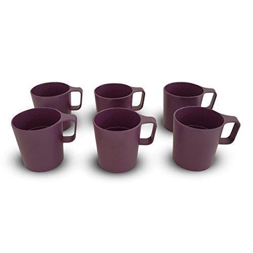 Coza Design- Eco Friendly Plastic Stackable Mug Set for coffee, tea, milk or hot chocolate- 8.5 oz (Set of 6, Purple)