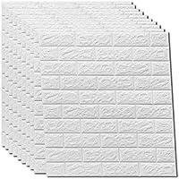 3D wandpanelen zelfklevend steeneffect behang, watervaste baksteen muursticker PVC 77 cm x 70 cm (10, wit)