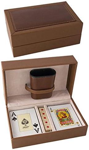 Ciaf Estuche Madera Polipiel 2 Barajas FOURNIER Dados Y CUBILETE, Poker: Amazon.es: Juguetes y juegos