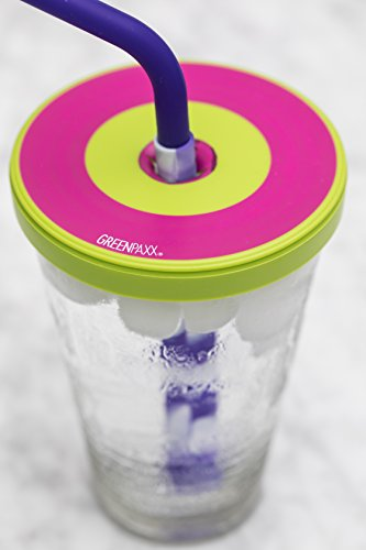 Universal Cup Lid Fits Almost Any Cup! Three Sized Rings Stretch Over Drinking Glasses. Useful Alternative to Sippy Cups and Plastic Tumblers for Adults and Kids Ages Three to Ninety. Two Pack Pink