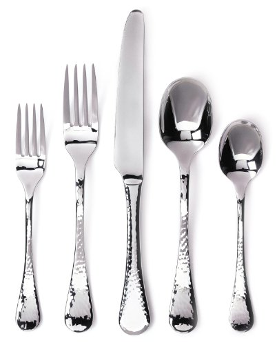 Ginkgo International Lafayette 42-Piece Stainless Steel Flatware Place Setting, Service for 8 Plus 2-Piece Hostess Set - 42-Piece lafayette flatware place setting by ginkgo international, service for 8 Set includes 8 each: salad forks, dinner forks, dinner knives, dinner spoons, and teaspoons, as well as two solid serving spoons Made of 18/0 stainless steel with a stainless hammered finish - kitchen-tabletop, kitchen-dining-room, flatware - 41CgC5AHgpL -