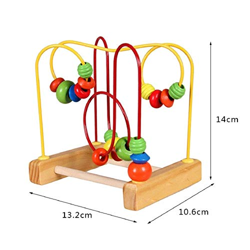 KEKJORY Fun Toddler Colorful Wooden Mini Around Beads Wire Maze Educational Toy