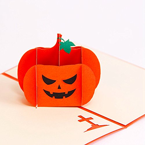 Jerry & Maggie - Pop Up Greeting Card - Halloween Pumpkin 3D Paper Greeting Thank You Card Handmade Halloween Custom Peripheral Products for Kids men (Halloween Wedding Greeting Cards)