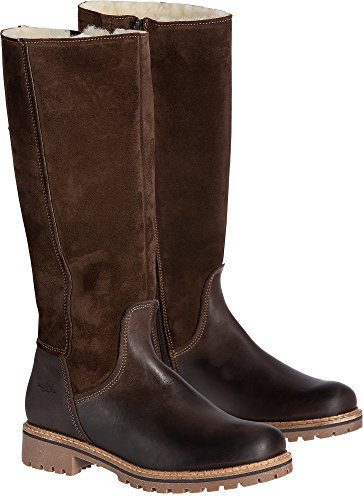 Women's Bos & Co Hudson Shearling-Lined Waterproof Leather Boots, DARK BROWN/COFFEE, Size EU40 by Bos. & Co.