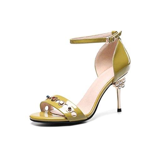 Tête New Talon Style Fashion la Élégant Chaussures Mode Sexy Simple Haut en Cuir Mode Ouverte Mince à Sweet pour Femmes Sandales Ronde Le Toe JAZS® Jaune X0aTqfa