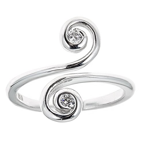 (Ritastephens Sterling Silver Swirl Cubic Zirconia Crossover Ring or Toe Ring)