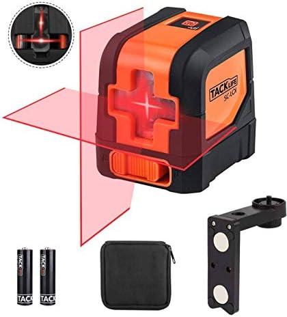 Kreuzlinienlaser Tacklife SC-L01 Selbstnivellierend Linienlaser 15M, ± 0,3 mm/m, mit 360° Drehbar Magnetische, IP54 Staub und Wasserschutz inkl. Schutztasche und 2 x AA Batterien