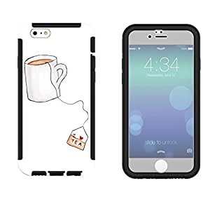 966 - Cool cute fun tea lovers i love tea teabag drink doodle Design iphone 6 plus S 5.5'' Full Body CASE With Build in Screen Protector Rubber Defender Shockproof Heavy Duty Builders Protective Cover