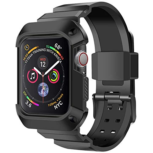 Fontar Compatible with Apple Watch 4 Case and Band 44mm, Shock Resistant Rugged Protective Case Bumper Cover with Soft Sport Bands Compatible for Apple Watch Series 4 (Black, 44mm)