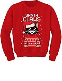 TeeStars - Santa Claws Cat Ugly Christmas Sweater Youth Kids Sweatshirt