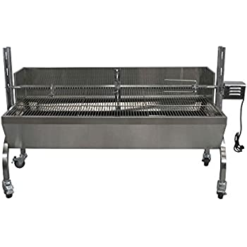 Titan Attachments Rotisserie Grill Roaster w/Windscreen Stainless Steel 13W 88LBS capacity BBQ