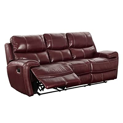 Coja by Sofa4life Mariana Leather Recliner Sofa, Red