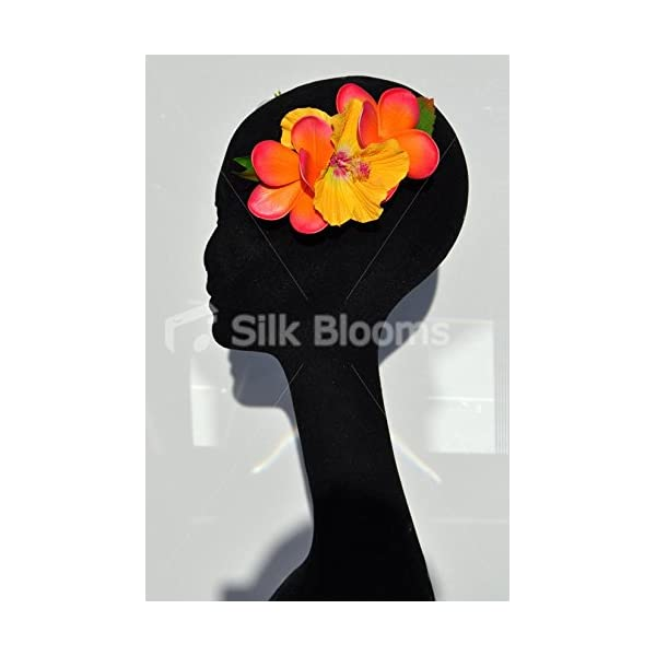 Silk Blooms Ltd Stunning Orange Frangipani and Yellow Tropical Artificial Flower Hair Accessory