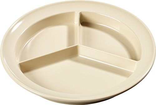 Carlisle KL20325 Kingline Melamine 3-Compartment Deep Plate, 8.75