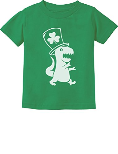 Tstars Irish T-Rex Dinosaur Clover Hat ST. Patrick's Day Toddler/Infant Kids T-Shirt 5/6 Green
