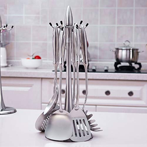 CFXZM Kitchen Shelf, Rotating Pointed Spatula Rack 304 Stainless Steel Metal with 6 Hooks (Color : 304 Sanding) by CFXZM (Image #3)