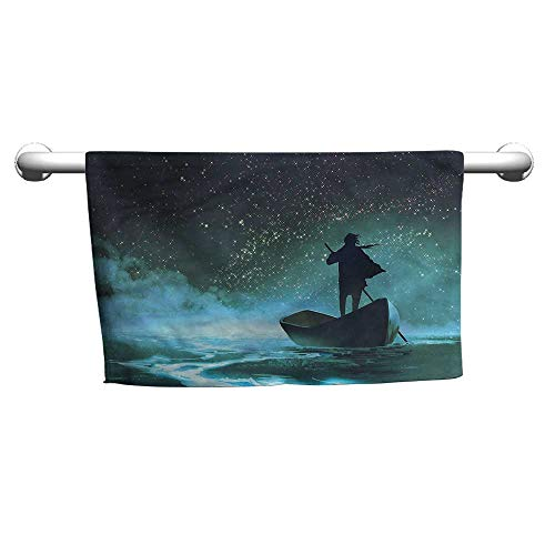 Style Towel Ocean,Man Rowing Boat in The Sea,Towel for Men