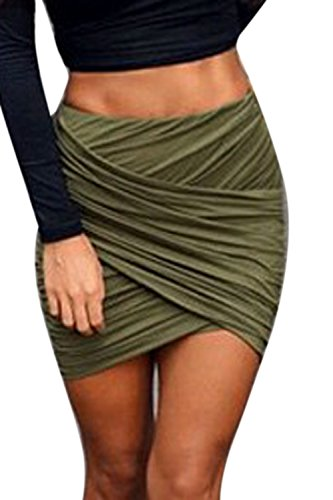 Alta Bodycon Vita Armygreen Stretto Sexy Wrap Gonna Le Donne Mini Benda 7qCBEH