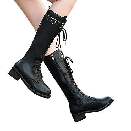 fers❣Brief Solid Heel High Boots-Women's Leather Over The Knee Zipper Square Shoes ()