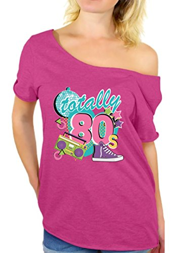 Awkward Styles 80s Off The Shoulder Tshirt 80s Shirts 80s Accessories for Women Pink 2XL -