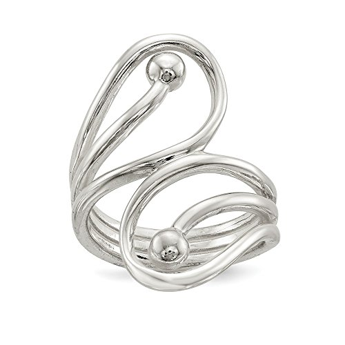 (Mia Diamonds Solid 925 Sterling Silver Polished Fancy Swirl Ring Size - 8)