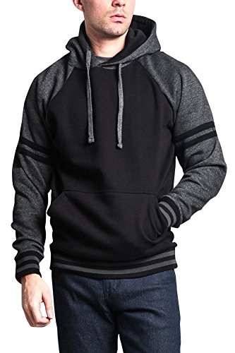 G-Style USA Premium Heavyweight Contrast Raglan Dual Striped Sleeve Pullover Hoodie MH13115 - Black/Charcoal - X-Large