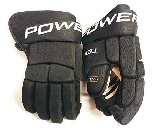 PowerTek V3.0 Tek Junior or Adult Ice Hockey Player Gloves, Full Motion Cuff (Black, Junior - Adult Hockey Glove